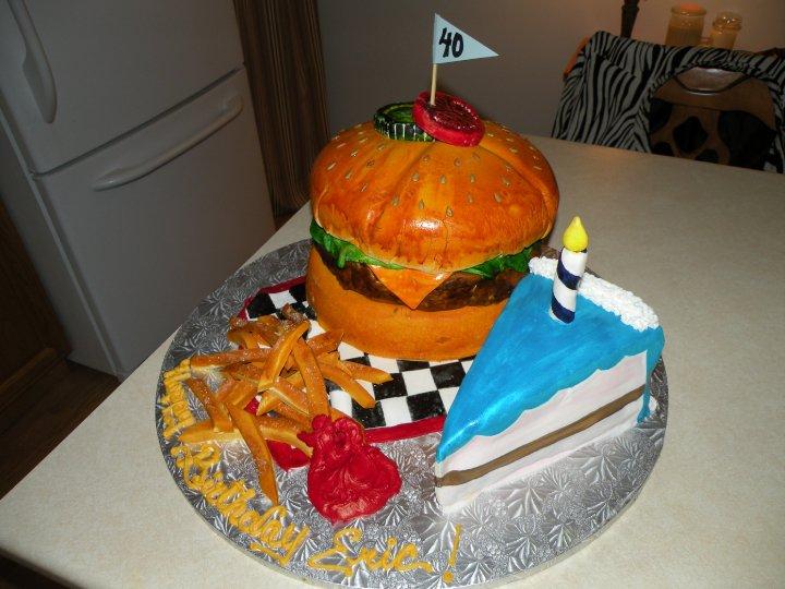 Hamburger Birthday Cake W French Fries And Cake Slice